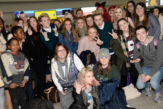 Arrivals, Stansted Airport. Jedward arrive on route from Gothenberg to Glasgow as part of their Airport Tour to meet fans. Selfies all round. Pic: Vikki Lince